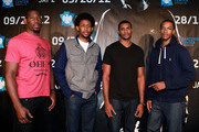 (L-R) Brooklyn Nets players James Mays, Josh Childress, Carleton Scott and Stephen Dennis attends Jay-Z in concert at the Barclays Center on September 28, 2012 in the Brooklyn borough of New York City.