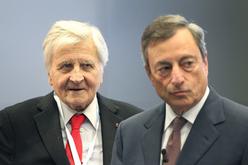 Jean-Claude Trichet US Federal Reserve Chief Janet Yellen Attends a European Central Bank Conference in Frankfurt
