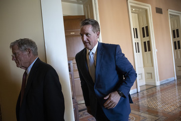Jeff Flake GOP Senators Meet On Capitol Hill Day Before Hearing With Supreme Court Nominee Brett Kavanaugh And His Accuser Dr. Christine Blasey Ford