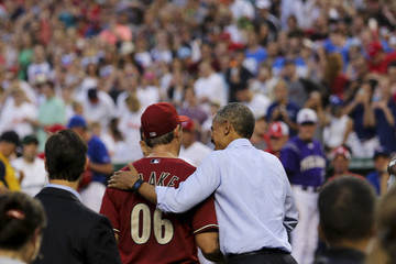Jeff Flake President Obama Watches The Congressional Baseball Game