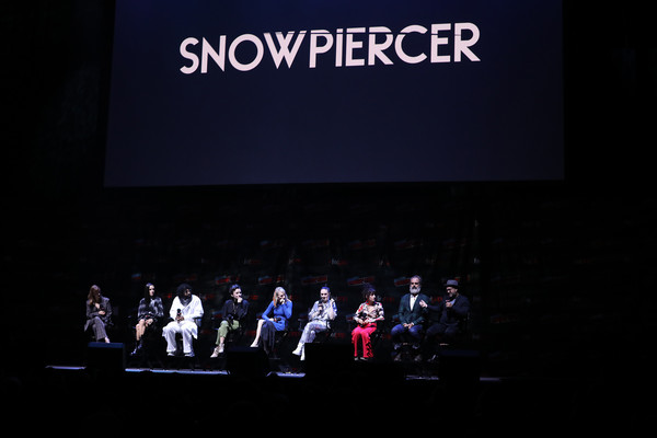 'Snowpiercer' At New York Comic Con 2019 [snowpiercer,text,projection screen,event,performance,stage,display device,design,convention,font,technology,jennifer connelly,sheila vand,lena hall,alison wright,daveed diggs,mickey sumner,steven ogg,l-r,new york comic con]