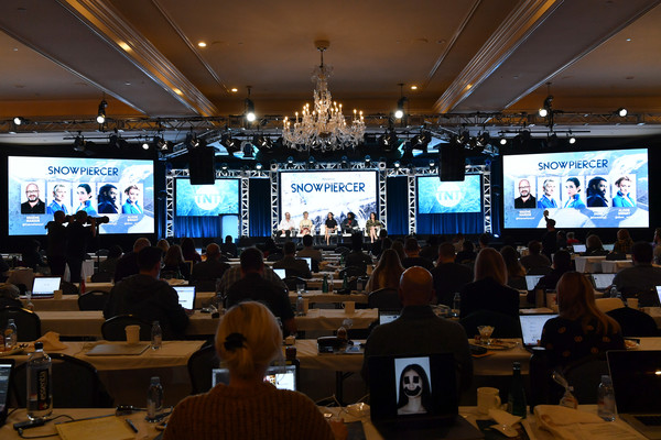 WarnerMedia Winter TCA 2020 - Presentation [snowpiercer,convention,academic conference,seminar,auditorium,event,conference hall,projection screen,convention center,news conference,building,mickey sumner,graeme manson,jennifer connelly,alison wright,presentation,warnermedia winter tca,l-r,pasadena,segment,photography,livingly media,image,television,thumbnail,google images,contemporary art gallery,television critics association,alison wright]