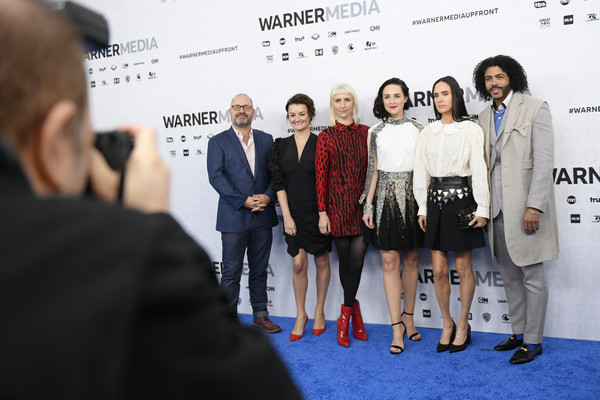 WarnerMedia Upfront 2019 - Arrivals [snowpiercer,red,red carpet,carpet,event,fashion,premiere,flooring,design,fashion design,white-collar worker,arrivals,alison wright,graeme manson,daveed diggs,jennifer connelly,l-r,warnermedia,tbs,arrivals]
