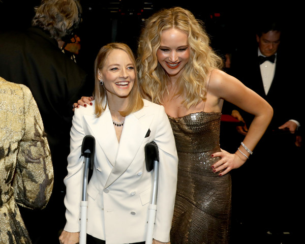 90th Annual Academy Awards - Backstage [handout,blond,fashion,event,dress,formal wear,cocktail dress,outerwear,fashion design,premiere,suit,jennifer lawrence,jodie foster,academy awards,backstage,california,hollywood,dolby theatre,a.m.p.a.s.,90th annual academy awards]