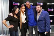 (L-R) Nicole Ryan, Jennifer Lopez, Stanley T,  and Ryan Sampson pose as Jennifer Lopez visits 'The Morning Mash Up' on SiriusXM Hits 1 Channel at the SiriusXM Studios on April 03, 2019 in New York City.