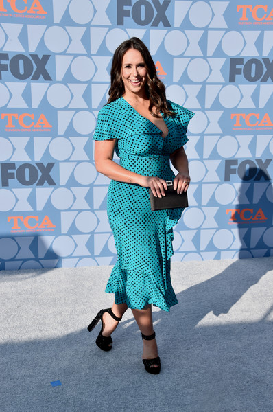 FOX Summer TCA 2019 All-Star Party - Arrivals [clothing,blue,pattern,turquoise,fashion,dress,lady,footwear,fashion design,all-star party - arrivals,jennifer love hewitt,california,los angeles,fox summer tca,fox studios,all-star party]