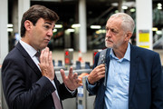 Labour Leader Jeremy Corbyn (R) is greeted by Mayor of Greater Manchester Andy Burnham (L) as he arrives at Manchester Victoria Station from Liverpool during a tour the North of England by rail today on September 3, 2018 in Manchester, England. Labour under Mr Corbyn are proposing a 'Crossrail for the North' linking the North East and North West of England with a new rail line.