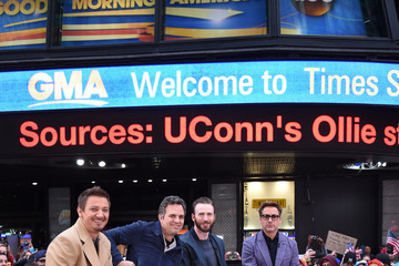 Jeremy Renner Mark Ruffalo Marvel's 'Avengers: Age Of Ultron' Takeover Times Square On 'Good Morning America'