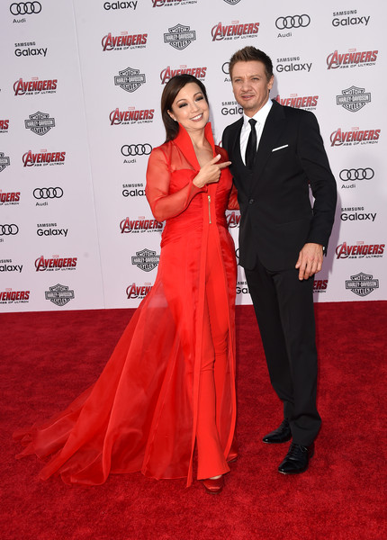 Premiere Of Marvel's 'Avengers: Age Of Ultron' - Arrivals [avengers: age of ultron,carpet,red carpet,red,formal wear,suit,flooring,event,tuxedo,premiere,dress,ming-na wen,arrivals,jeremy renner,dolby theatre,california,hollywood,marvel,premiere]