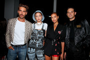 Jon Kortajarena, Gigi Hadid, Irina Shayk  and G-Eazy attend the Jeremy Scott front row during New York Fashion Week: The Shows at Gallery I at Spring Studios on September 06, 2019 in New York City.