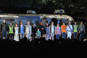 """(L-R) Cast members Barry Sloane, Sarah Moyle, Aimee-Ffion Edwards, Mackenzie Crook, Alan David, Molly Ranson, Mark Page, Mark Rylance, Geraldine Hughes, Danny Kirrane, Charlotte Mills, John Gallagher, Jr., Max Baker and Harvey Robinson at a curtain call at the opening night of """"Jerusalem"""" on Broadway at The Music Box Theatre on April 21, 2011 in New York City."""