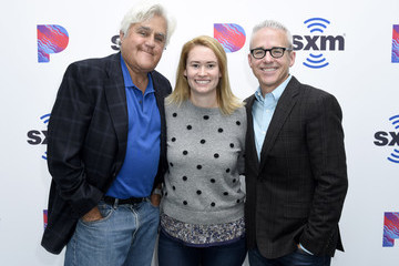 Jess Cagle Julia Cunningham Jay Leno Visits The SiriusXM Hollywood Studios In Los Angeles