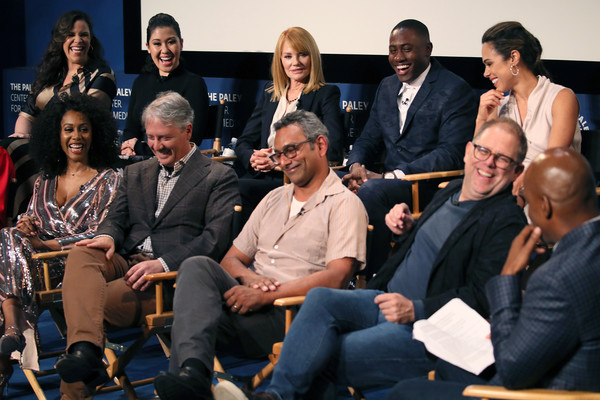 The Paley Center For Media's 2019 PaleyFest Fall TV Previews - CBS - Inside [paleyfest fall tv previews,all rise,social group,event,audience,conversation,management,team,convention,collaboration,sitting,family pictures,simone missick,kevin frazier,lindsay mendez,l-r,front row,paley center for media,cbs,inside]