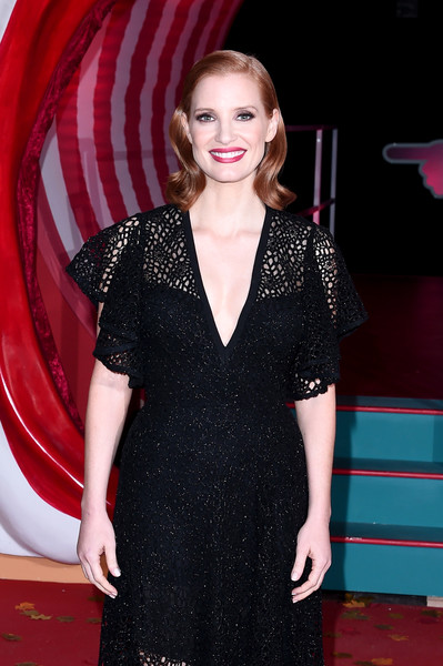 'IT Chapter Two' European Premiere - VIP Arrivals [it chapter two,clothing,red carpet,carpet,dress,premiere,flooring,fashion,cocktail dress,fashion model,long hair,vip arrivals,jessica chastain,european,england,london,the vaults,premiere,it chapter two european premiere]