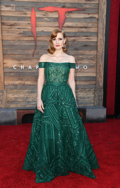 Premiere Of Warner Bros. Pictures' 'It Chapter Two' - Arrivals [it chapter two,dress,clothing,gown,carpet,red carpet,flooring,green,shoulder,strapless dress,haute couture,arrivals,jessica chastain,california,regency village theatre,warner bros. pictures,westwood,premiere]