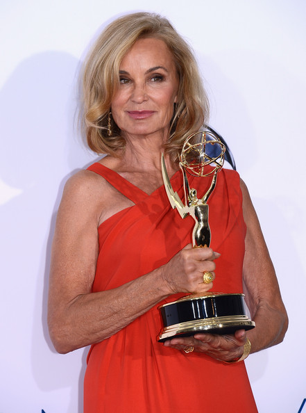 "Jessica Lange Actress Jessica Lange, winner Outstanding Supporting Actress in a Miniseries or a Movie award for ""American Horror Story,"" poses in the press room during the 64th Annual Primetime Emmy Awards at Nokia Theatre L.A. Live on September 23, 2012 in Los Angeles, California."