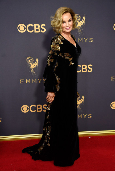 69th Annual Primetime Emmy Awards - Arrivals [flooring,carpet,dress,beauty,formal wear,gown,red carpet,shoulder,fashion,fashion model,arrivals,jessica lange,microsoft theater,los angeles,california,primetime emmy awards]