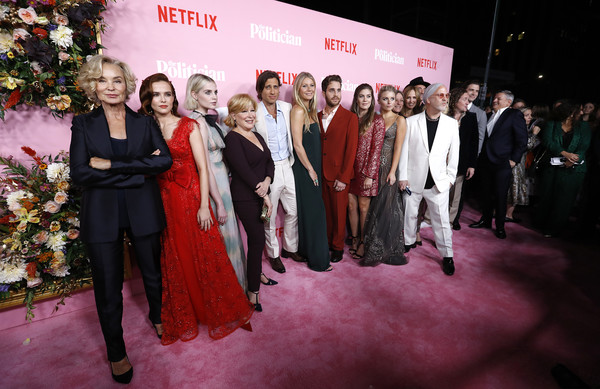 'The Politician' New York Premiere [event,fashion,formal wear,pink,red carpet,carpet,suit,premiere,ceremony,flooring,the politician,new york,jessica lange,zoey deutch,lucy boynton,gwyneth paltrow,ben platt,laura dreyfuss,brad falchuk,bette midler]