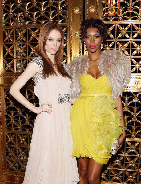WGSN Global Fashion Awards [clothing,dress,yellow,fashion,cocktail dress,beauty,event,haute couture,long hair,gown,modesl,coco rocha,jessica white,wgsn global fashion awards,new york city,l,gotham hall]