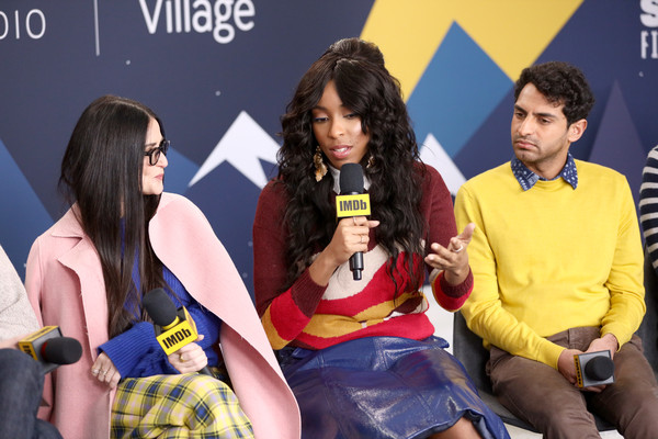 The IMDb Studio At Acura Festival Village On Location At The 2019 Sundance Film Festival – Day 4 [yellow,product,event,youth,fun,talent show,performance,conversation,thigh,recreation,jessica williams,karan soni of corporate animals,demi moore,l-r,location,utah,park city,imdb studio at acura festival village on location,imdb studio,sundance film festival]