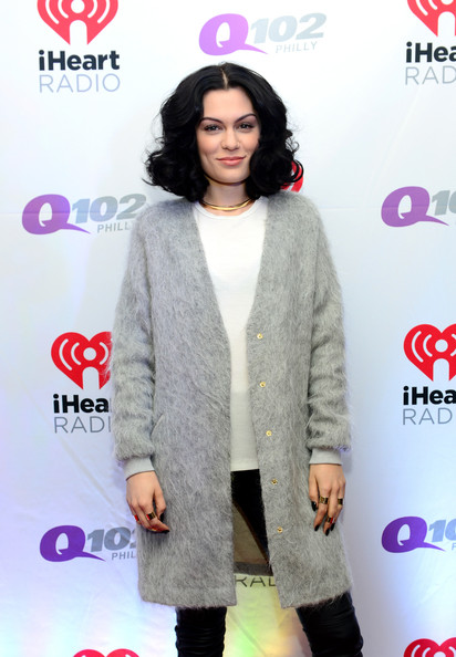 Backstage at Q102's Jingle Ball  [clothing,outerwear,fashion,sleeve,fashion design,black hair,jessie j,philadelphia,pennsylvania,wells fargo center,q102,jingle ball,jingle ball 2014]