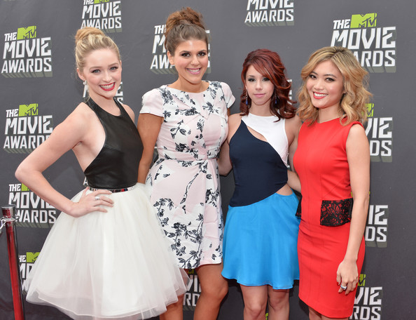 Arrivals at the MTV Movie Awards 4 [red carpet,clothing,dress,cocktail dress,premiere,hairstyle,carpet,event,fashion,blond,red carpet,actresses,jessica lu,jillian rose reed,greer grammer,molly tarlov,mtv movie awards,l-r,culver city,california]