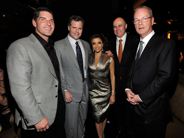 Beso Opening At Crystals At CityCenter - Inside [event,suit,formal wear,fashion,fun,smile,night,tuxedo,jim murren,ceo,eva longoria parker,president,bobby baldwin,crystals at citycenter - inside,l-r,citycenter,aria resort casino,beso opening]