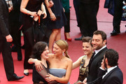 (L-R) Director Rebecca Zlotowski, actress Lea Seydoux, actress Camille Lellouche, actor Denis Menochet and actor Tahar Rahim attends 'Grand Central' Premiere during the 66th Annual Cannes Film Festival at Palais des Festivals on May 18, 2013 in Cannes, France.