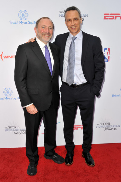 5th Annual Sports Humanitarian Awards Presented By ESPN [suit,event,carpet,white-collar worker,premiere,formal wear,tuxedo,red carpet,tie,businessperson,gary bettman,jimmy pitaro,california,los angeles,the novo theater,l.a. live,espn,l,annual sports humanitarian awards]