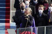 Lady Gaga sings the National Anthem during the the 59th inaugural ceremony on the West Front of the U.S. Capitol on January 20, 2021 in Washington, DC.  During today's inauguration ceremony Joe Biden becomes the 46th president of the United States.