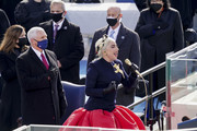 Lady Gaga sings during the inauguration on the West Front of the U.S. Capitol on January 20, 2021 in Washington, DC.  During today's inauguration ceremony Joe Biden becomes the 46th president of the United States.