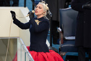 Singer Lady Gaga (L) performs during the 59th Presidential Inauguration at the U.S. Capitol on January 20, 2021 in Washington, DC. During today's inauguration ceremony Joe Biden becomes the 46th president of the United States.