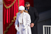 Jennifer Lopez and former New York Yankee Alex Rodriguez depart the inauguration of U.S. President Joe Biden on the West Front of the U.S. Capitol on January 20, 2021 in Washington, DC.  During today's inauguration ceremony Joe Biden becomes the 46th president of the United States.