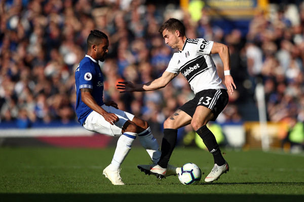 Everton FC vs. Fulham FC - Premier League [player,sports,sports equipment,football player,football,soccer,team sport,ball game,soccer player,sport venue,joe bryan,theo walcott,fulham fc,liverpool,united kingdom,goodison park,everton fc,premier league,match]