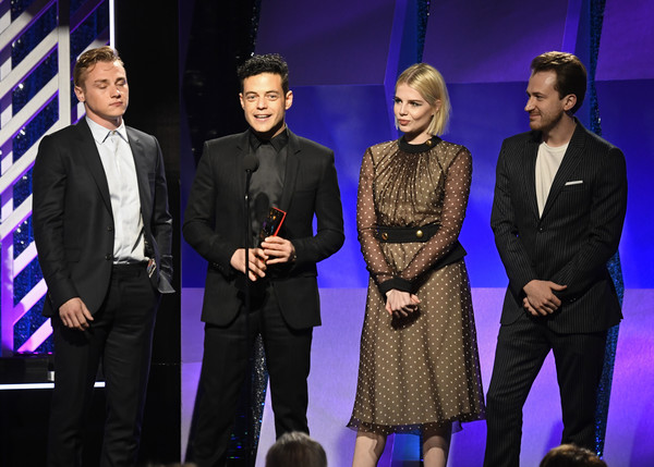 18th Annual AARP The Magazine's Movies For Grownups Awards - Show [event,award,award ceremony,performance,performing arts,joe mazzello,lucy boynton,rami malek,ben hardy,movies for grownups awards,l-r,beverly wilshire four seasons hotel,beverly hills,aarp the magazine,show]