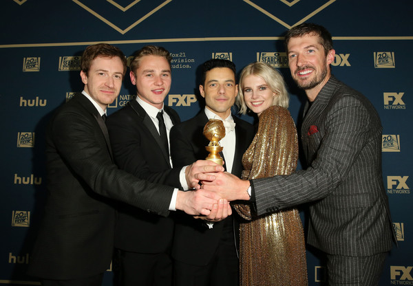 2019 Hulu Golden Globe Awards After Party [event,suit,award,formal wear,premiere,tuxedo,award ceremony,joe mazzello,gwilym lee,lucy boynton,ben hardy,hulu golden globe awards,l-r,fox,party,hulu golden globe awards,viewing party]