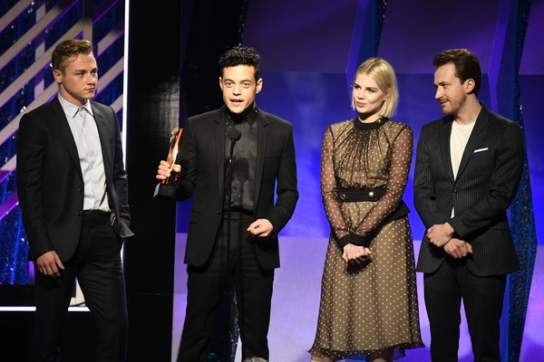 18th Annual AARP The Magazine's Movies For Grownups Awards - Show [event,performance,fashion,formal wear,suit,performing arts,award ceremony,award,fashion design,joe mazzello,lucy boynton,rami malek,ben hardy,movies for grownups awards,l-r,beverly wilshire four seasons hotel,beverly hills,aarp the magazine,show]