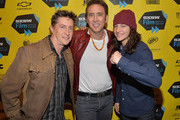 (L-R) Director David Gordon Green, actor Nicholas Cage and actor Tye Sheridan pose for photos in the green room for the premiere of 'Joe' during the 2014 SXSW Music, Film + Interactive Festival at Paramount Theatre on March 9, 2014 in Austin, Texas.