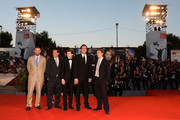 (L to R) Producer Christopher Woodrow, actors Ronnie Blevins, Tye Sheridan, Nicolas Cage, director David Gordon Green attend the 'Joe' Premiere during The 70th Venice International Film Festival at Palazzo Del Cinema on August 30, 2013 in Venice, Italy.