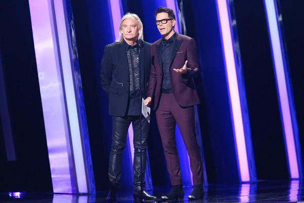 The 53rd Annual CMA Awards - Show [performance,fashion,formal wear,event,talent show,performing arts,electric blue,stage,suit,fashion design,nashville,tennessee,bridgestone arena,cma awards,show,bobby bones,joe walsh]