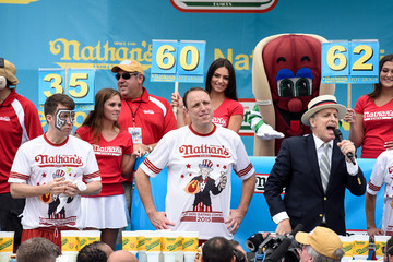 Joey Chestnut An Annual July 4th Hot Dog Eating Contest is Held at Nathan's on Coney Island