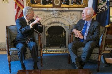 John Cornyn Supreme Court Nominee Judge Neil Gorsuch Meets With Sen. Mitch McConnell (R-KY) On Capitol Hill