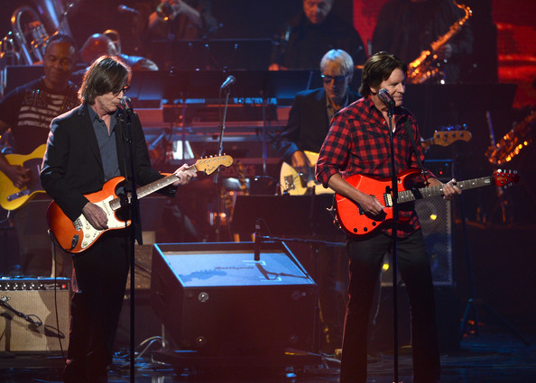 Rock and Roll Hall of Fame Induction Ceremony  [string instrument,music,musician,performance,guitar,performing arts,entertainment,guitarist,musical instrument,jackson browne,john fogerty,l-r,nokia theatre l.a. live,california,los angeles,rock and roll hall of fame induction ceremony - show,28th annual rock and roll hall of fame induction ceremony]