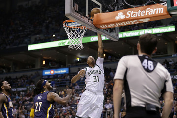 John Henson Indiana Pacers v Milwaukee Bucks