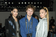 (L-R) Delilah Belle Hamlin, Warren Elgort and Pritika Swarup attend the John John Fashion Show during New York Fashion Week at Gallery I at Spring Studios on February 12, 2019 in New York City.