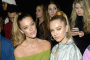 Model  Nina Agdal (L) and Delilah Belle Hamlin attend the John John Fashion Show during New York Fashion Week at Gallery I at Spring Studios on February 12, 2019 in New York City.