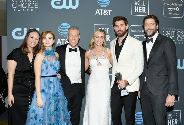 The 24th Annual Critics' Choice Awards - Press Room [event,premiere,fashion,dress,formal wear,gown,ceremony,suit,carpet,style,winners,millicent simmonds,allyson seeger,emily blunt,brad fuller,john krasinski,l-r,room,andrew form,critics choice awards]