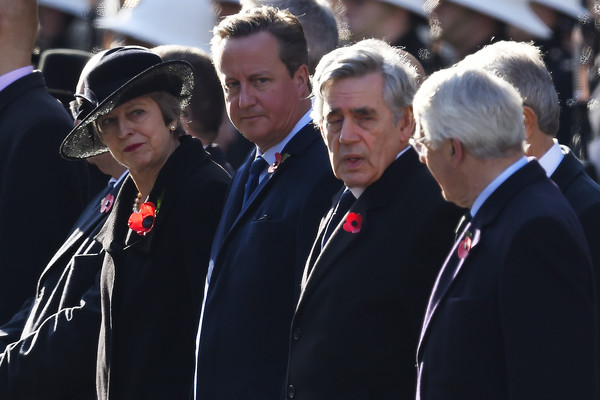 Remembrance Sunday Cenotaph Service [armistice,event,uniform,ceremony,official,military officer,gesture,bodyguard,crowd,prime ministers,theresa may,gordon brown,david cameron,l-r,part,cenotaph service,the cenotaph,memorial]