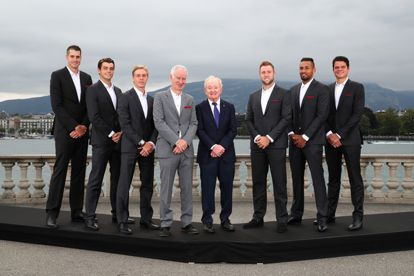Laver Cup 2019 - Preview Day 3 [photo,suit,formal wear,tuxedo,event,businessperson,white-collar worker,team,ceremony,photography,wedding,john mcenroe,john isner,players,rod laver,denis shapovalov,taylor fritz,l-r,europe,laver cup]