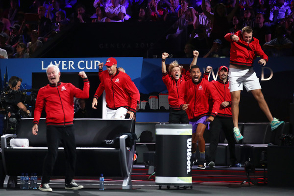 Laver Cup 2019 - Day 3 [event,performance,stage equipment,heater,audience,musical theatre,crowd,players,dominic thiem,match point,rest,team europe,palexpo,team world,taylor fritz of team world,laver cup,singles match]